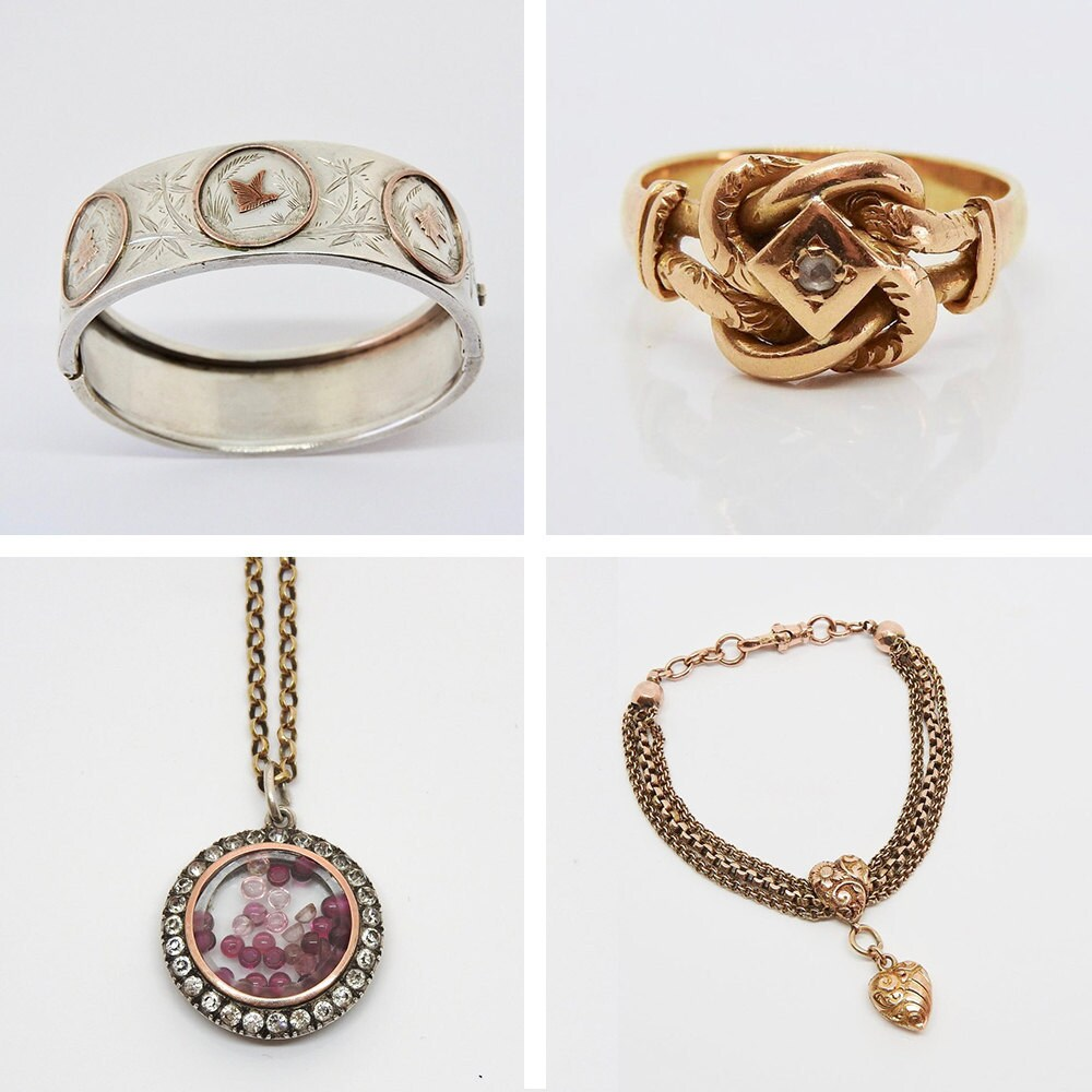 A collage of jewelry from Lawrence Antique Jewellery