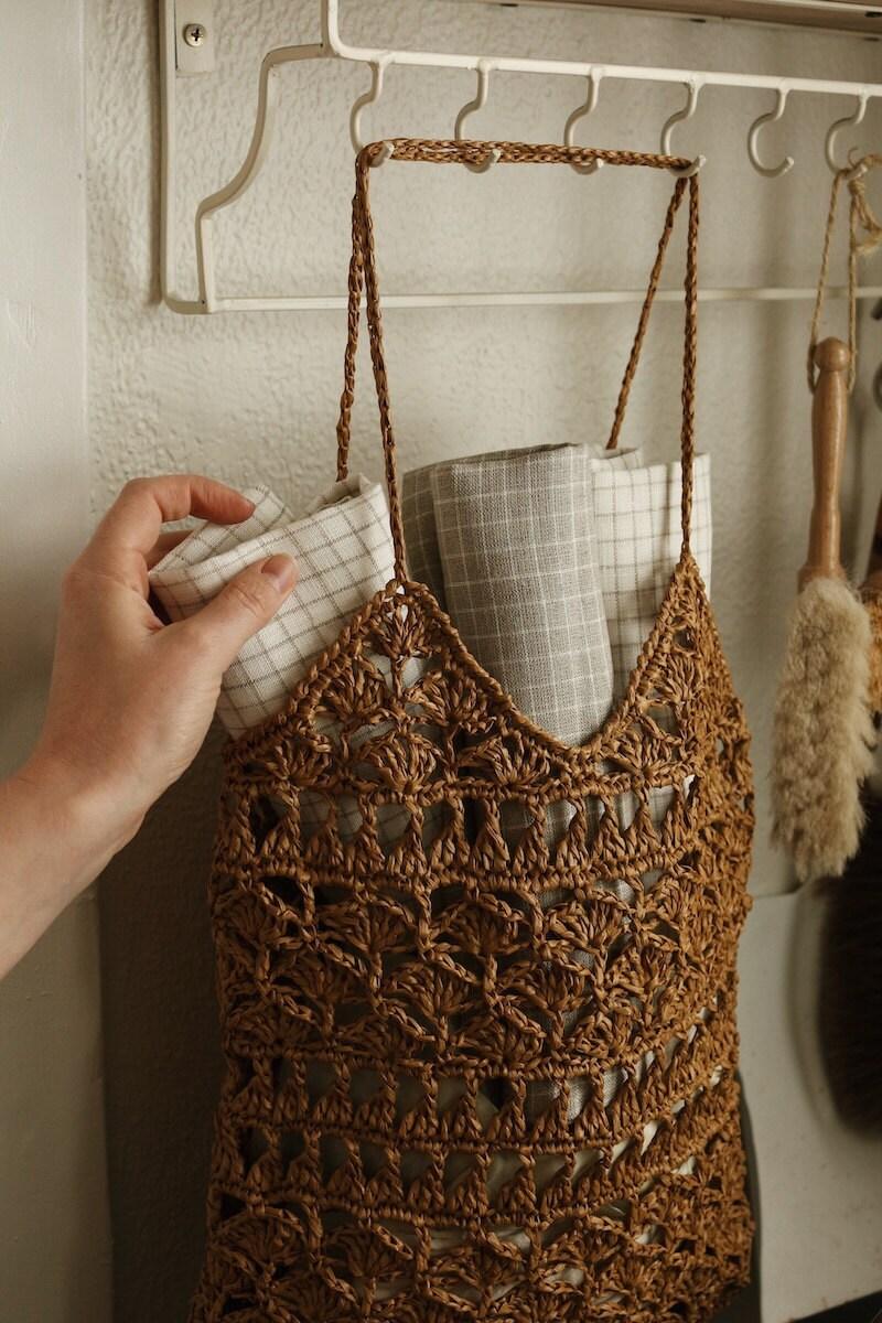 Linen tea towels from Magic Linen and crochet raffia tote bag from Plexida