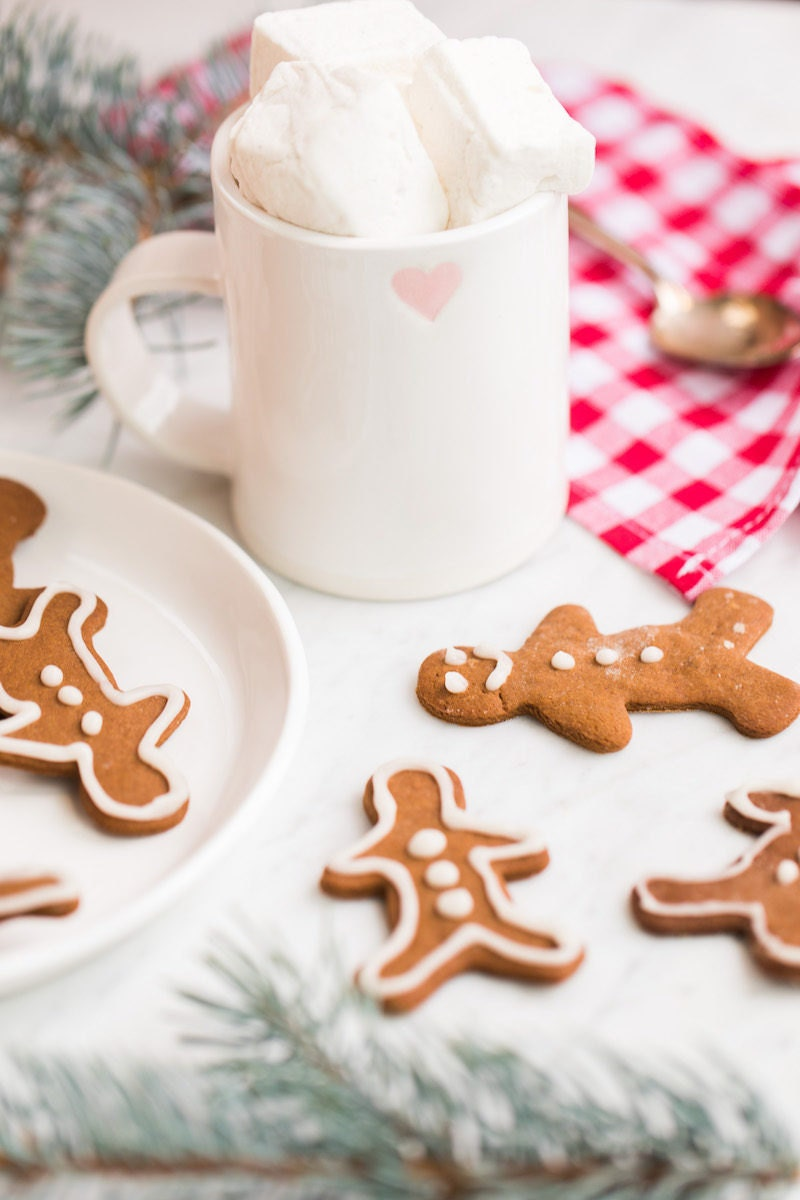 Gingerbread cookies and a white ceramic mug of hot cocoa from the Jillian Harris x Etsy collection