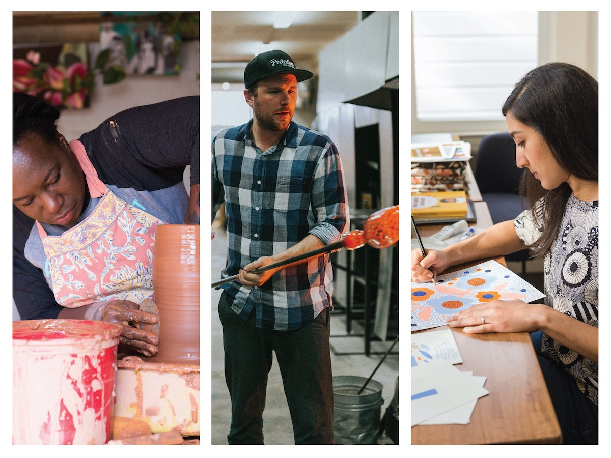 Three Etsy sellers working on their products