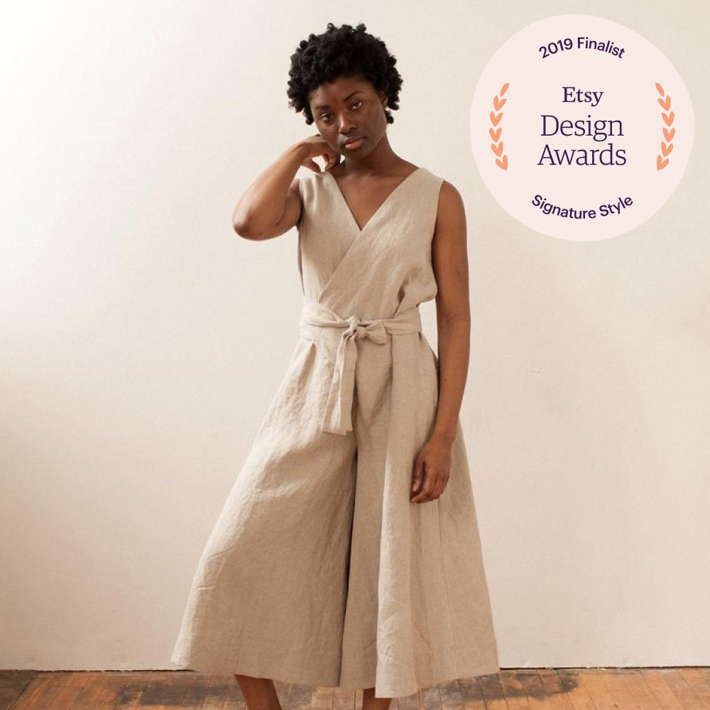 A linen jumpsuit from Lauren Winter Co.