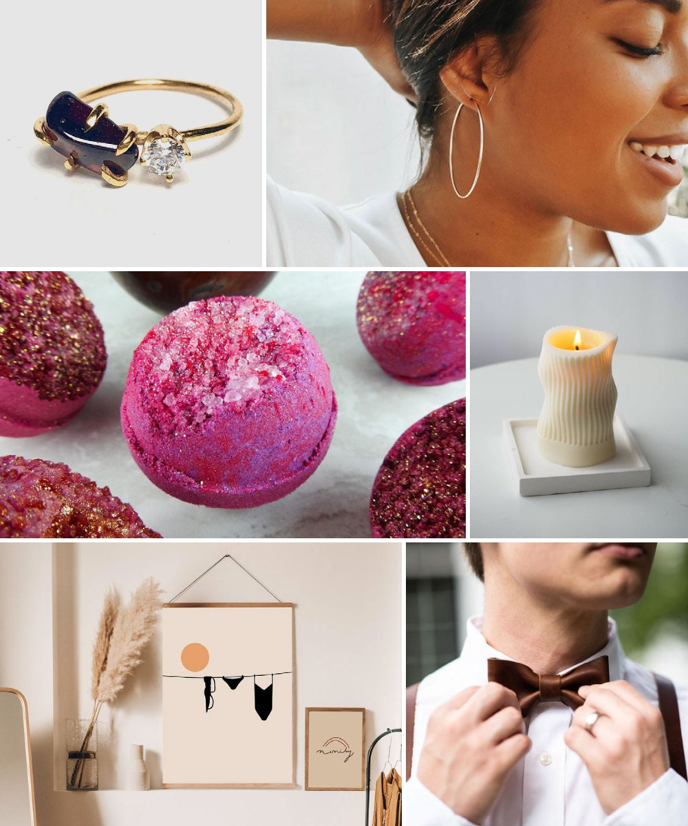 A collage of bold birthday gift ideas hand-picked for Scorpio.