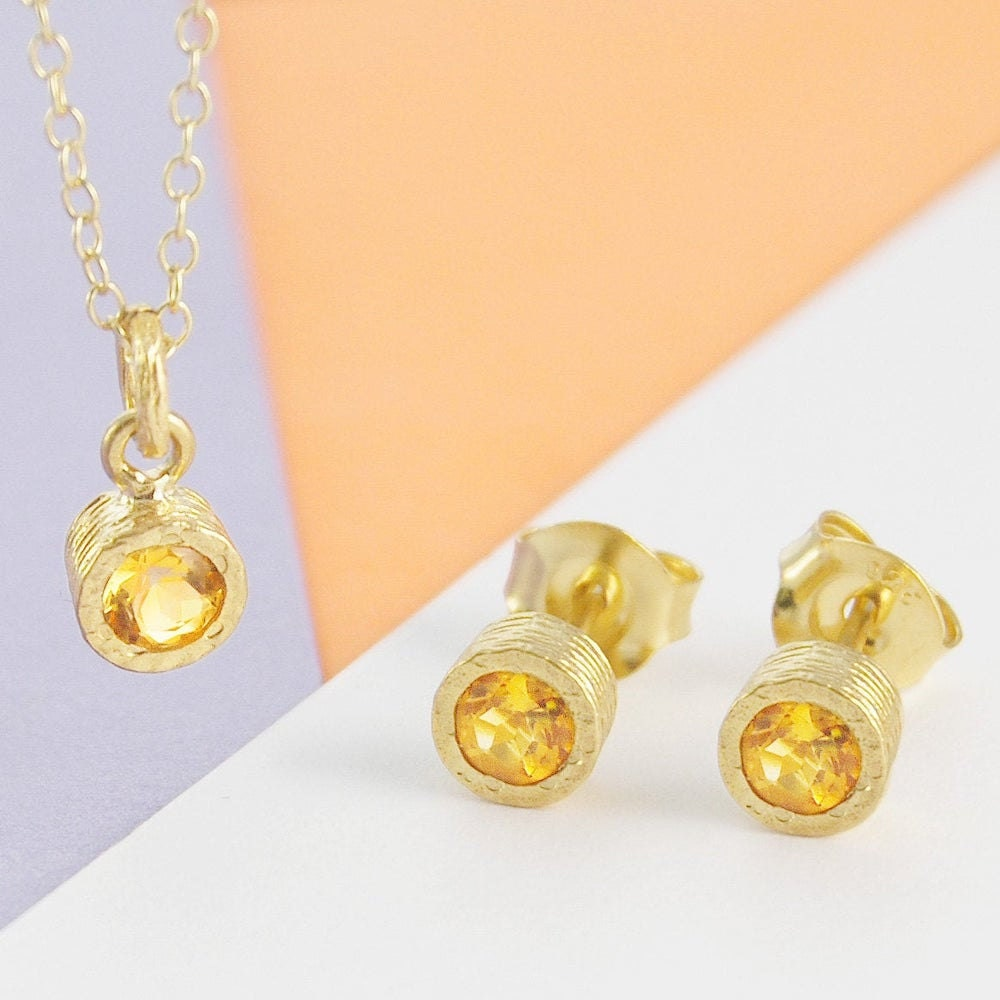 Citrine studs and necklace set from Embers Gemstone Jewellery