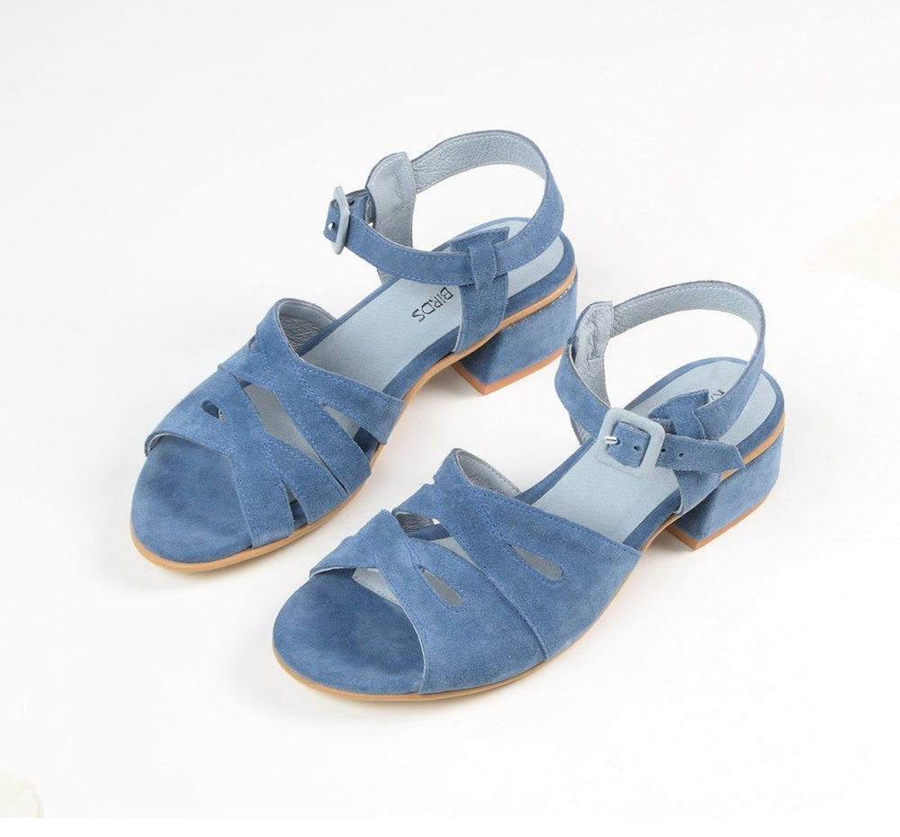Blue suede sandals from Katz and Birds