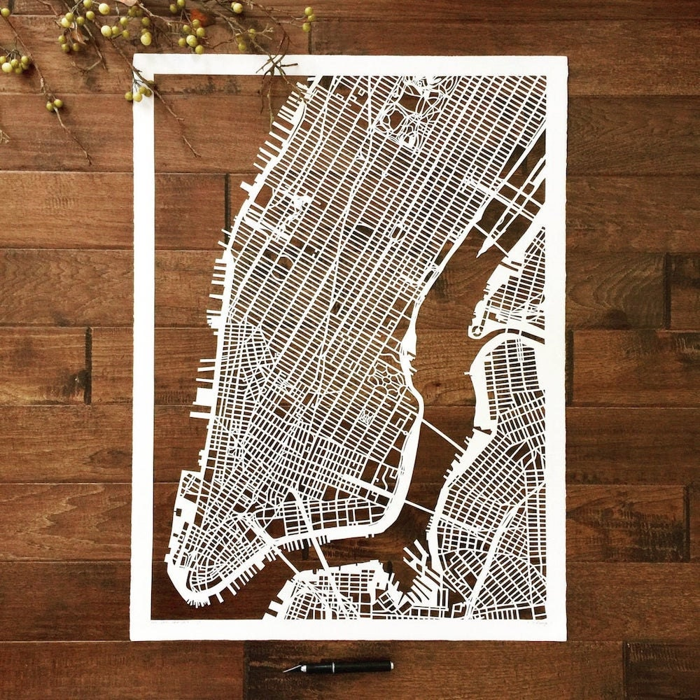 Curated image with Large NYC hand-cup paper map from Studio KMO, $1,300
