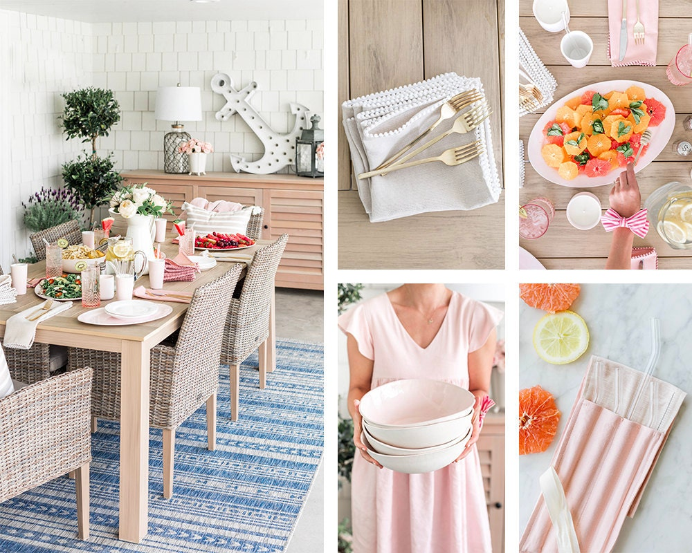 Jillian's outdoor dining area set with dinnerware and table linens from her collection.