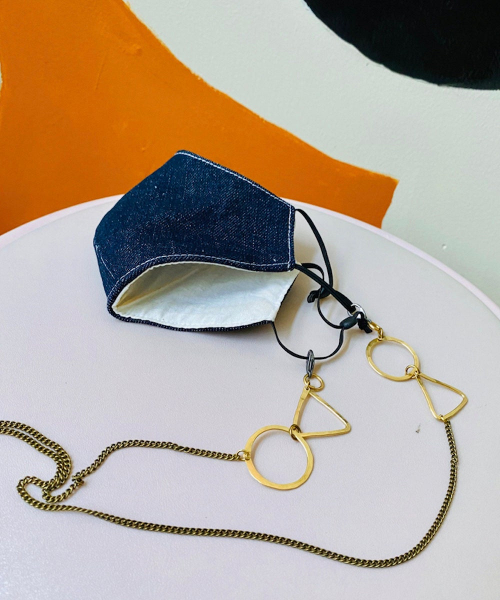 Brass necklace-style face mask chain from Candid Art, on Etsy