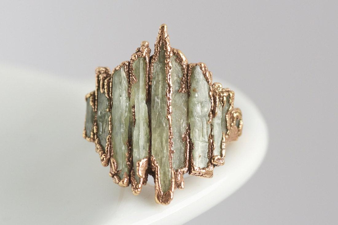 An electroformed raw green kyranite ring from eMeraki