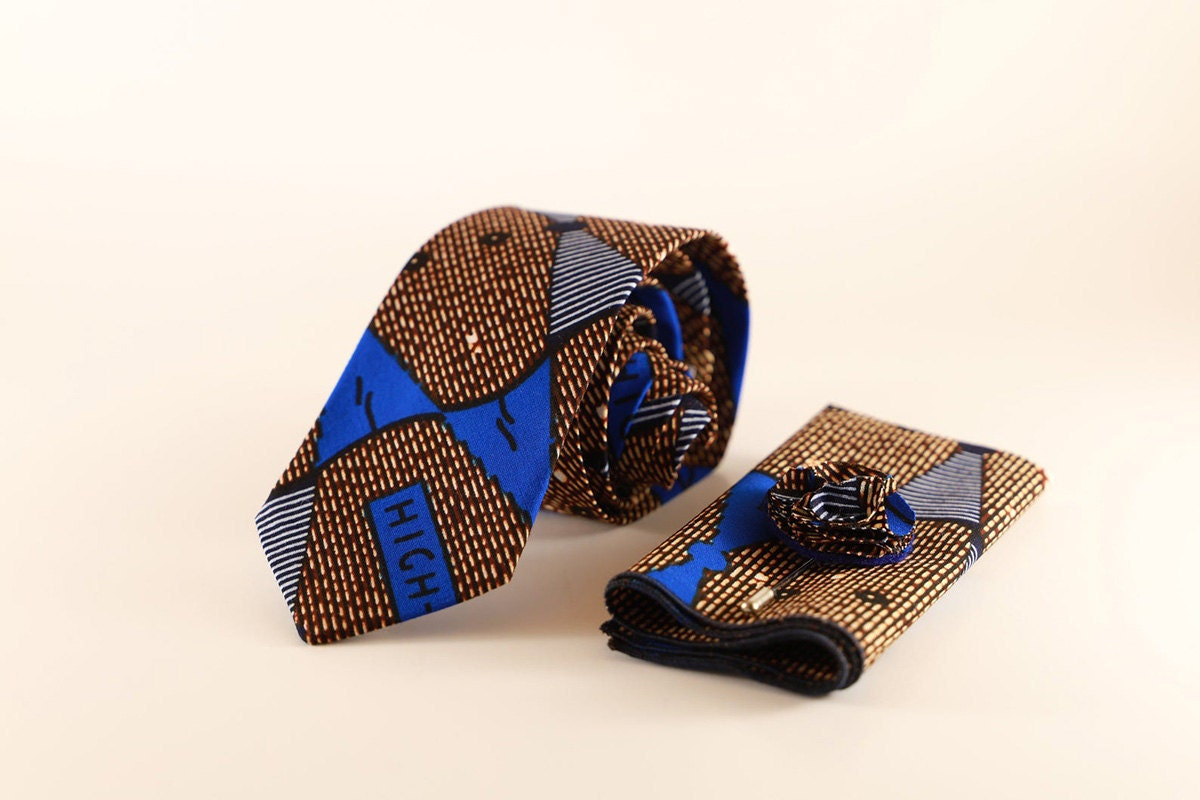 Necktie and pocket square set from GabeJade Accessories, on Etsy