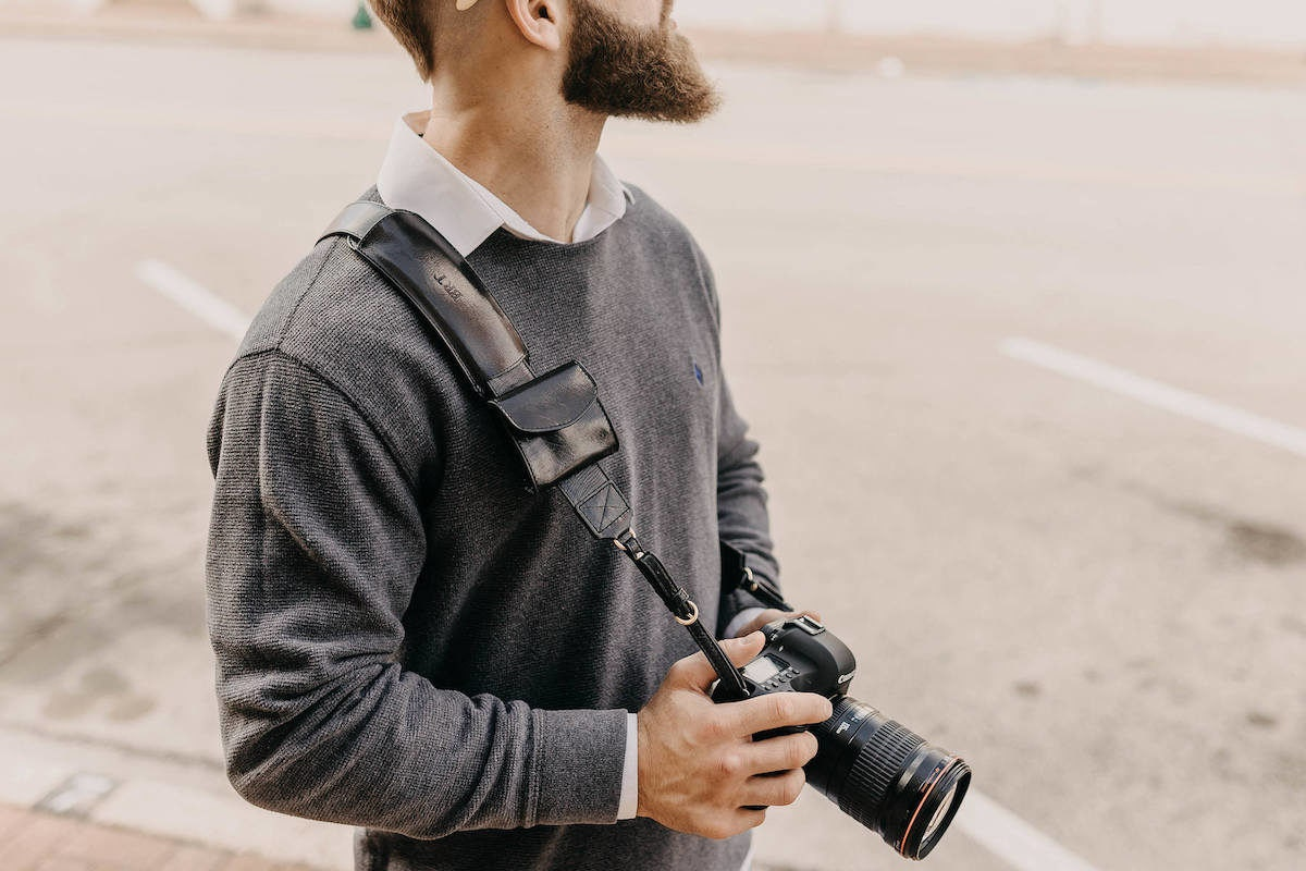 Personalized camera strap from The Leather Expert
