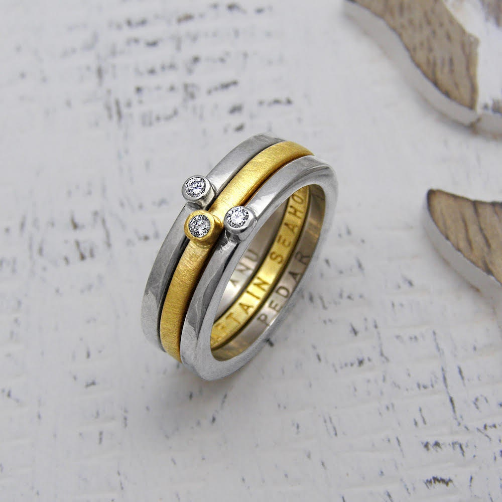 Personalized yellow and white gold stacking rings from Soremi Jewellery