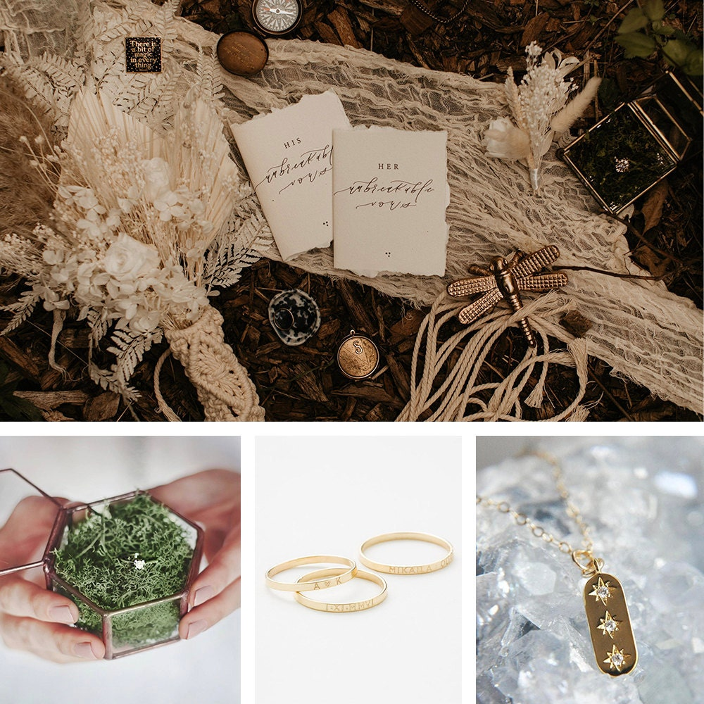 A collage of jewelry items Sarah wore on her wedding day, available to shop on Etsy.