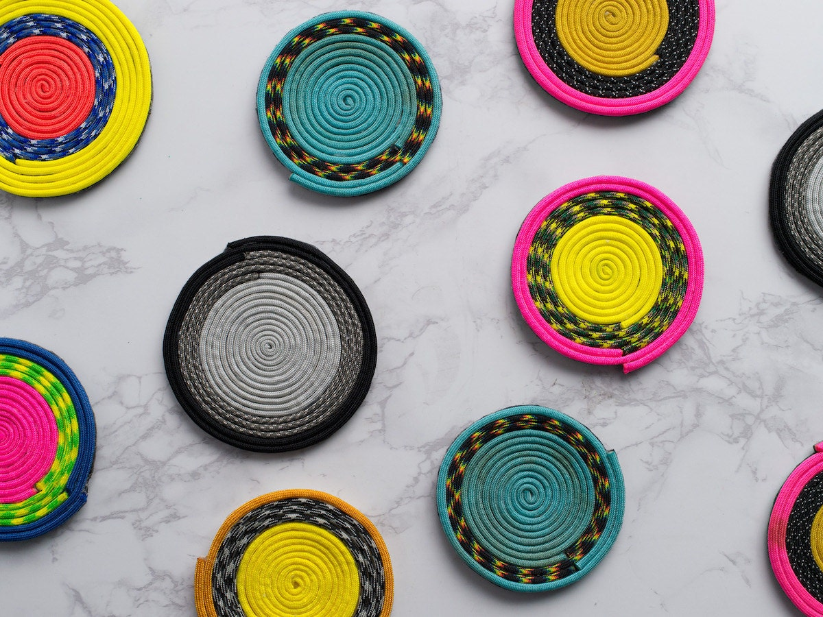 Assorted colorful paracord coasters