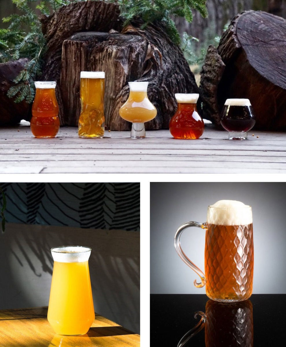 Select set of craft beer glasses, English beer mug, hazy IPA mug, all from Pretentious Beer Glass Company