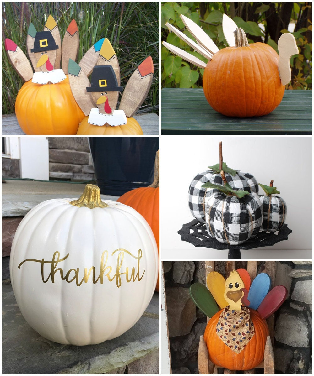 Thanksgiving-friendly pumpkin decorating ideas, from Etsy