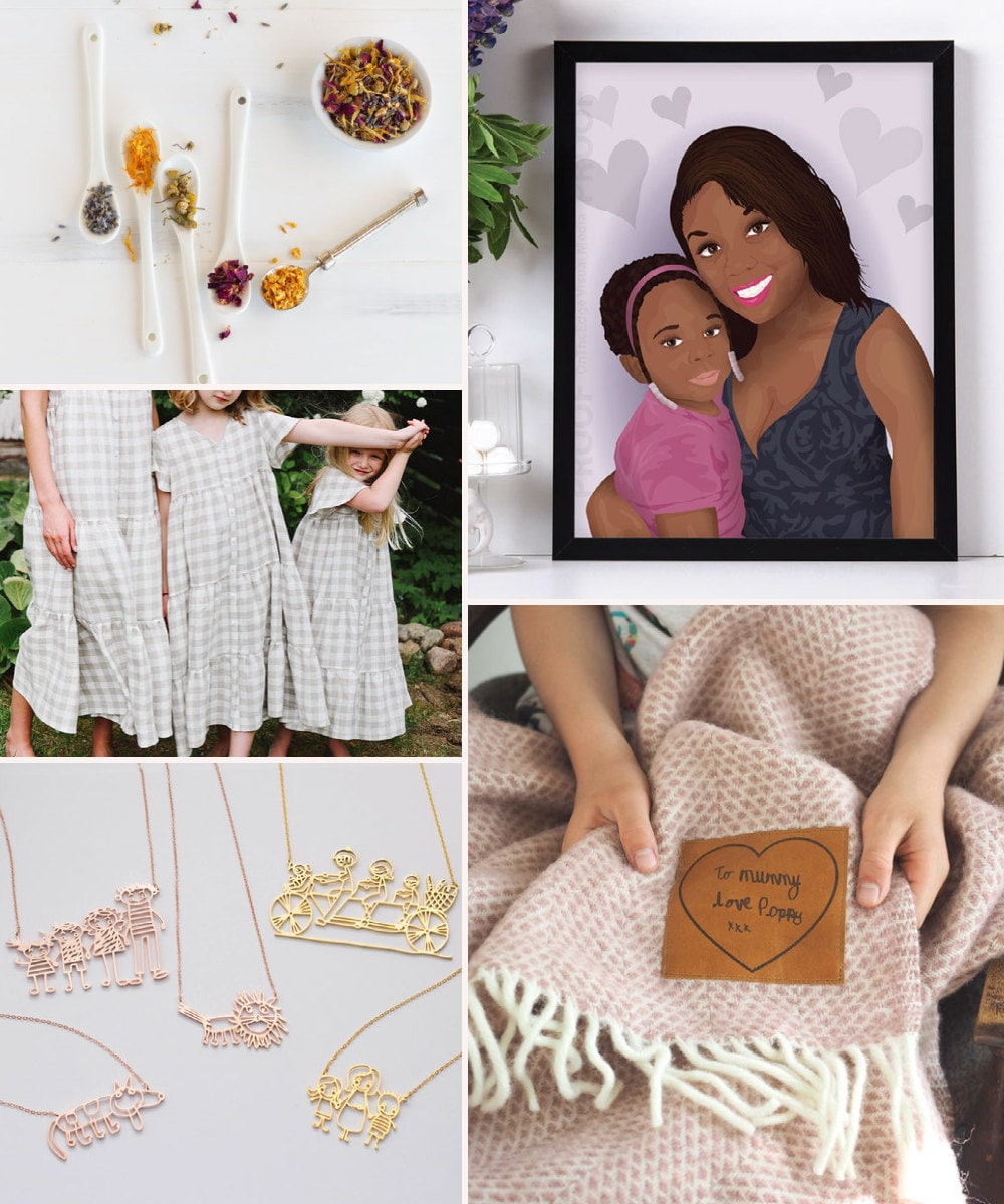A collage of gifts for parenting pros available on Etsy.