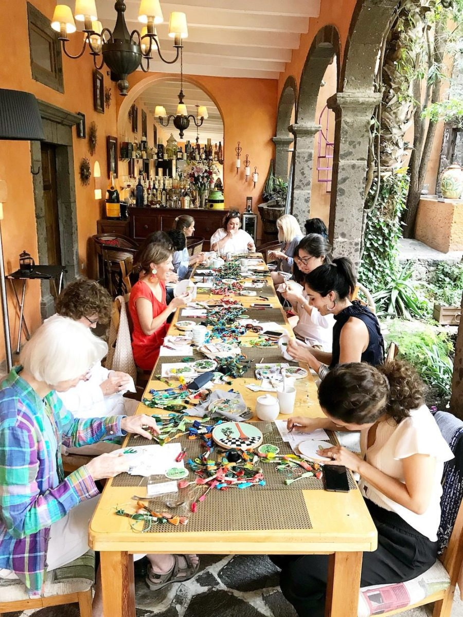 A recent embroidery workshop taught by Sarah K. Benning