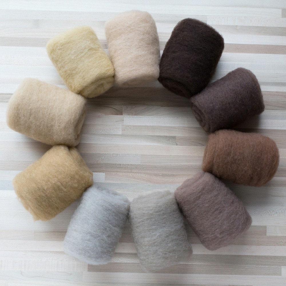 Brown shades of needle felting wool from Felted Sky