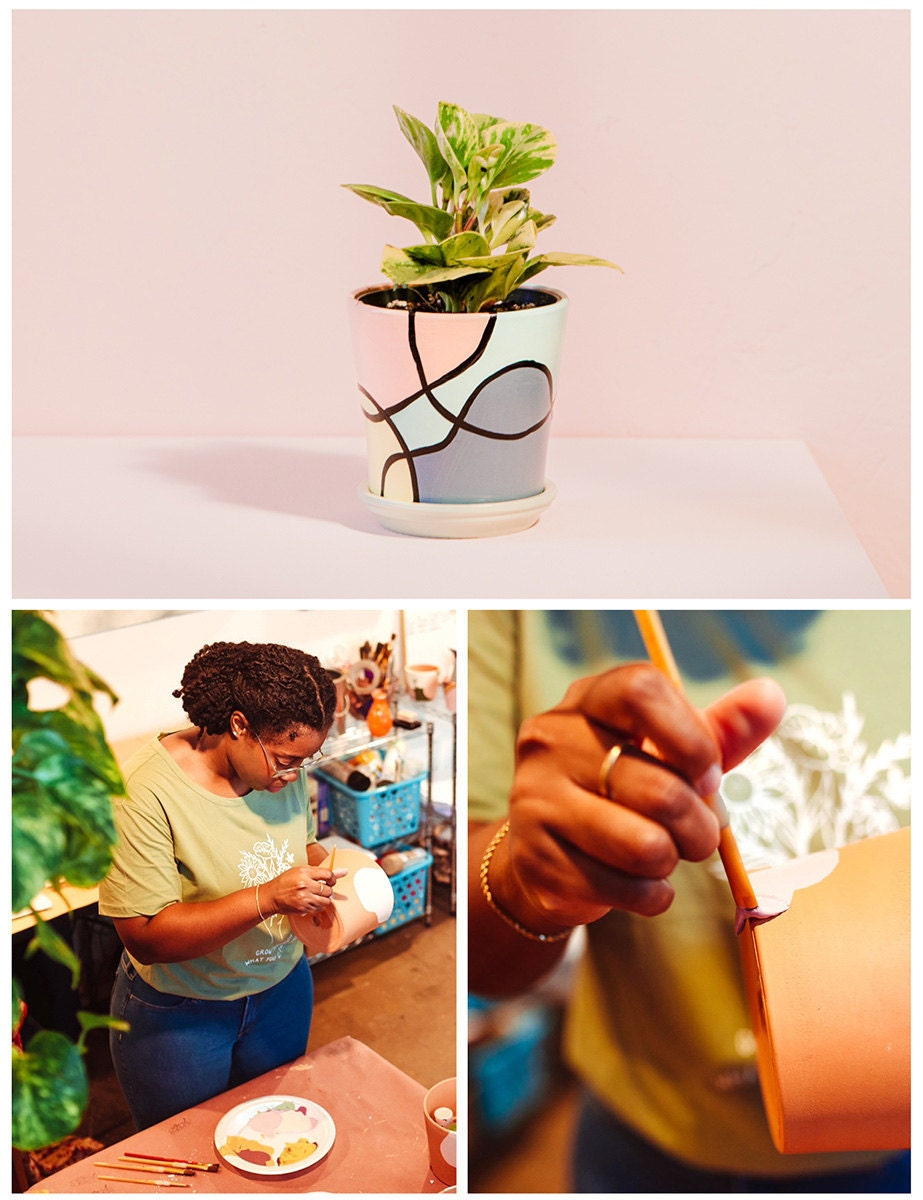 Hand-painted planters from Pepper Palm
