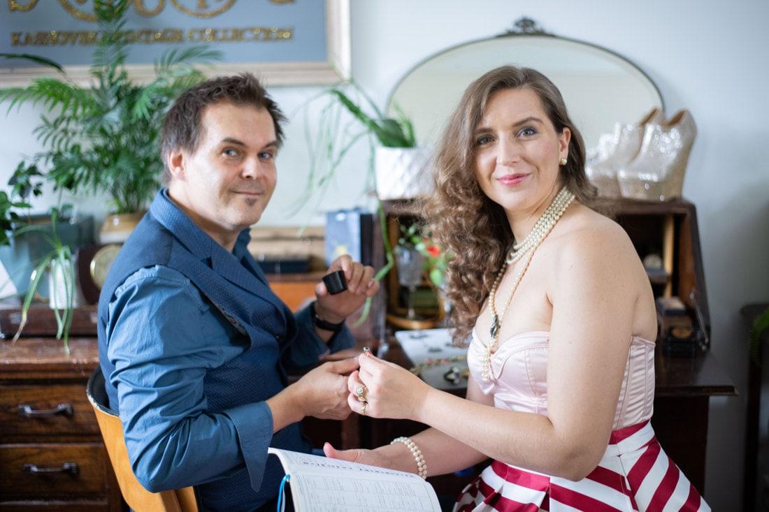 Portrait of vintage jewelry purveyors Sebastian and KK in their studio