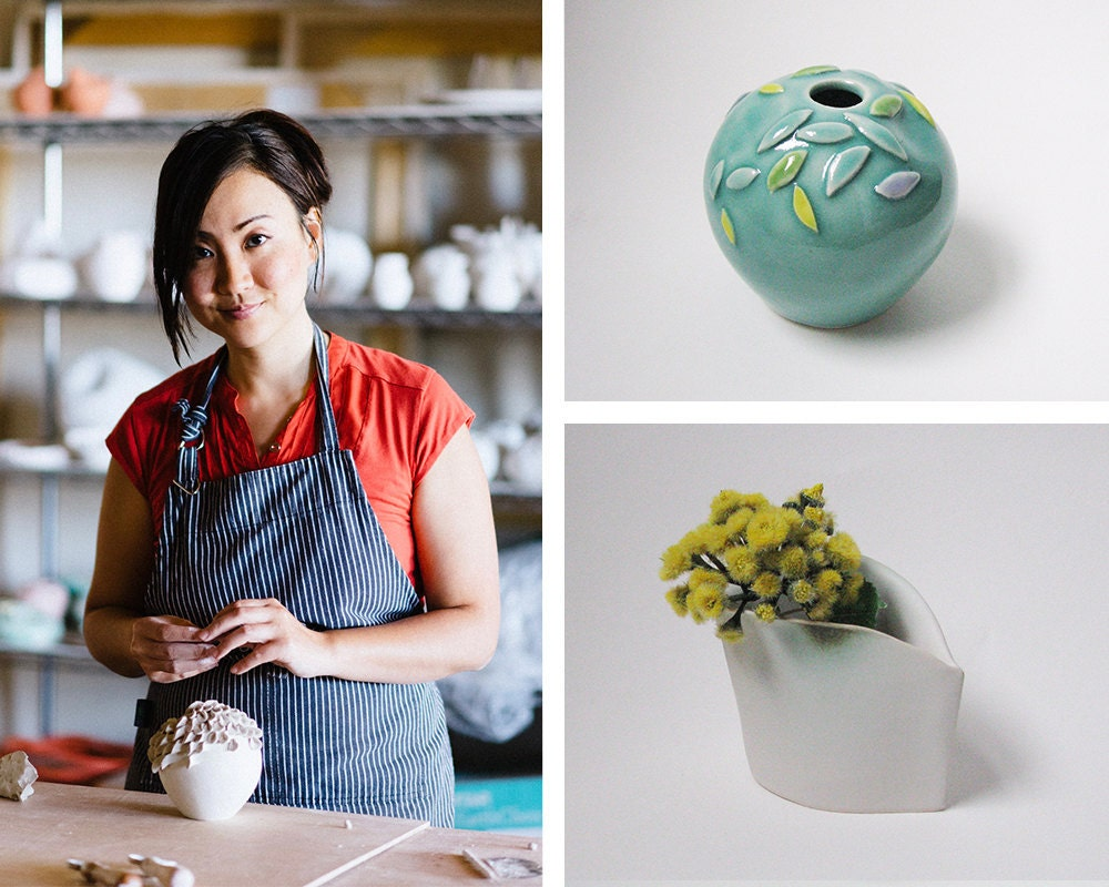 Portrait of ceramicist Yumiko Goto collaged with a few of her nature-inspired pieces.