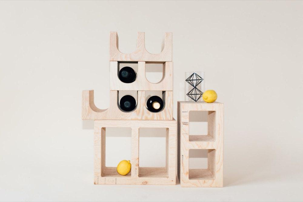 Modular wine racks and tinder blocks from WAAM Industries.