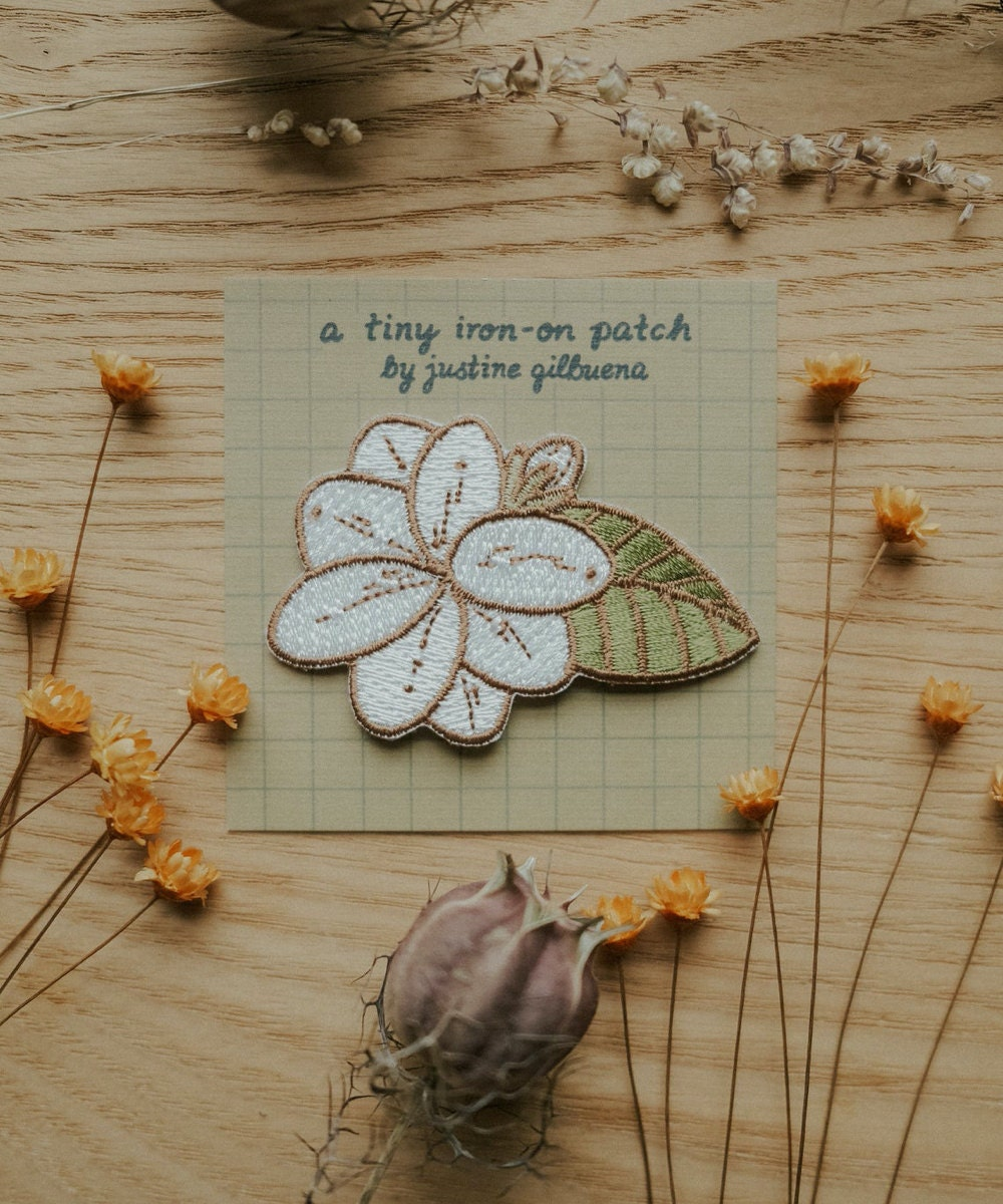 Sampaguita flower iron-on patch from Justine Gilbuena