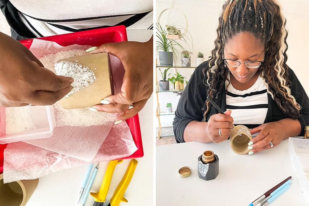 Tal & Bert creator Val Talbert assembles her crystal-studded planters.