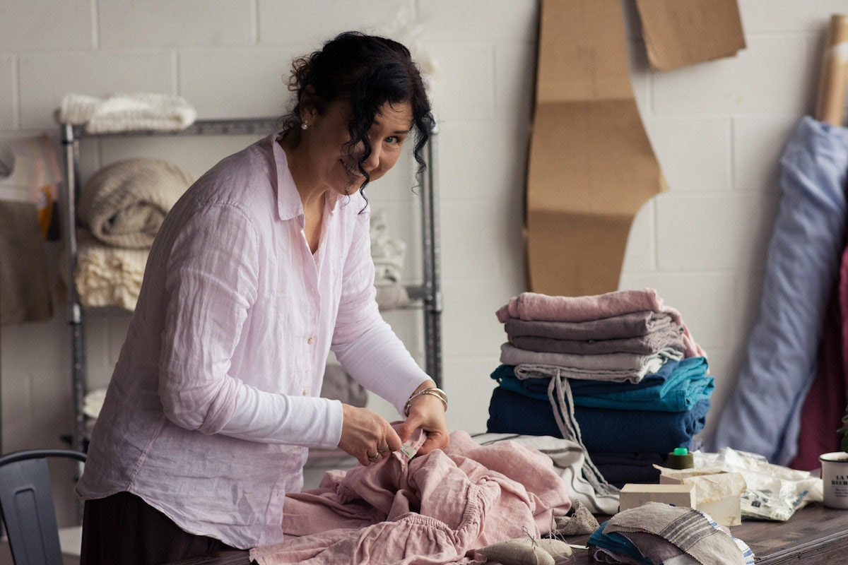 Doville at work in the House of Baltic Linen studio