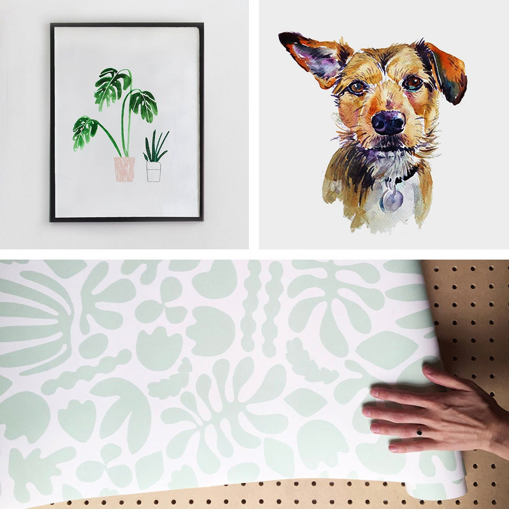 A collage of wall decor from the Real Simple home, available to purchase on Etsy.