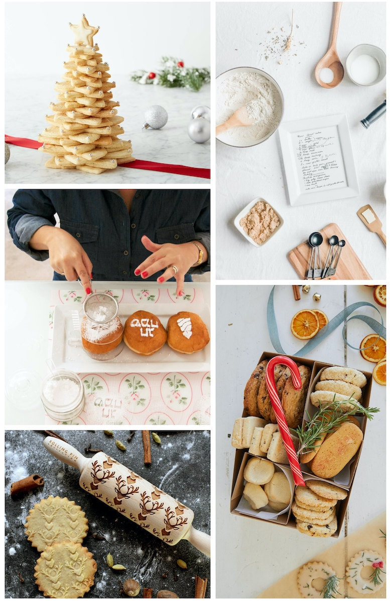 DIY cookie kits, custom recipe plates, cookie boxes, rolling pins, and Hannukah baking stencils from Etsy