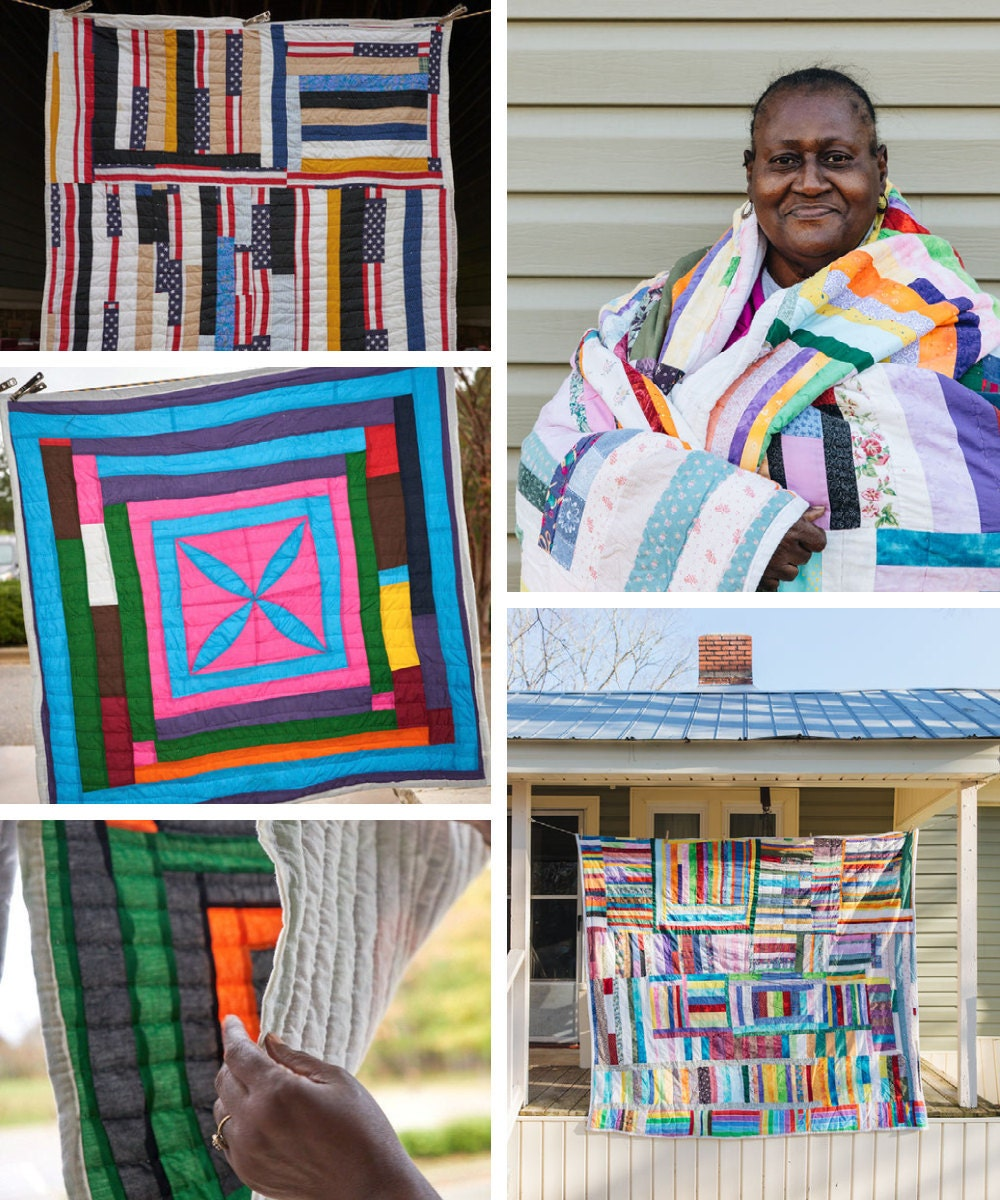 A collage of Gee's Bend quilter Sharon Williams and her quilts.