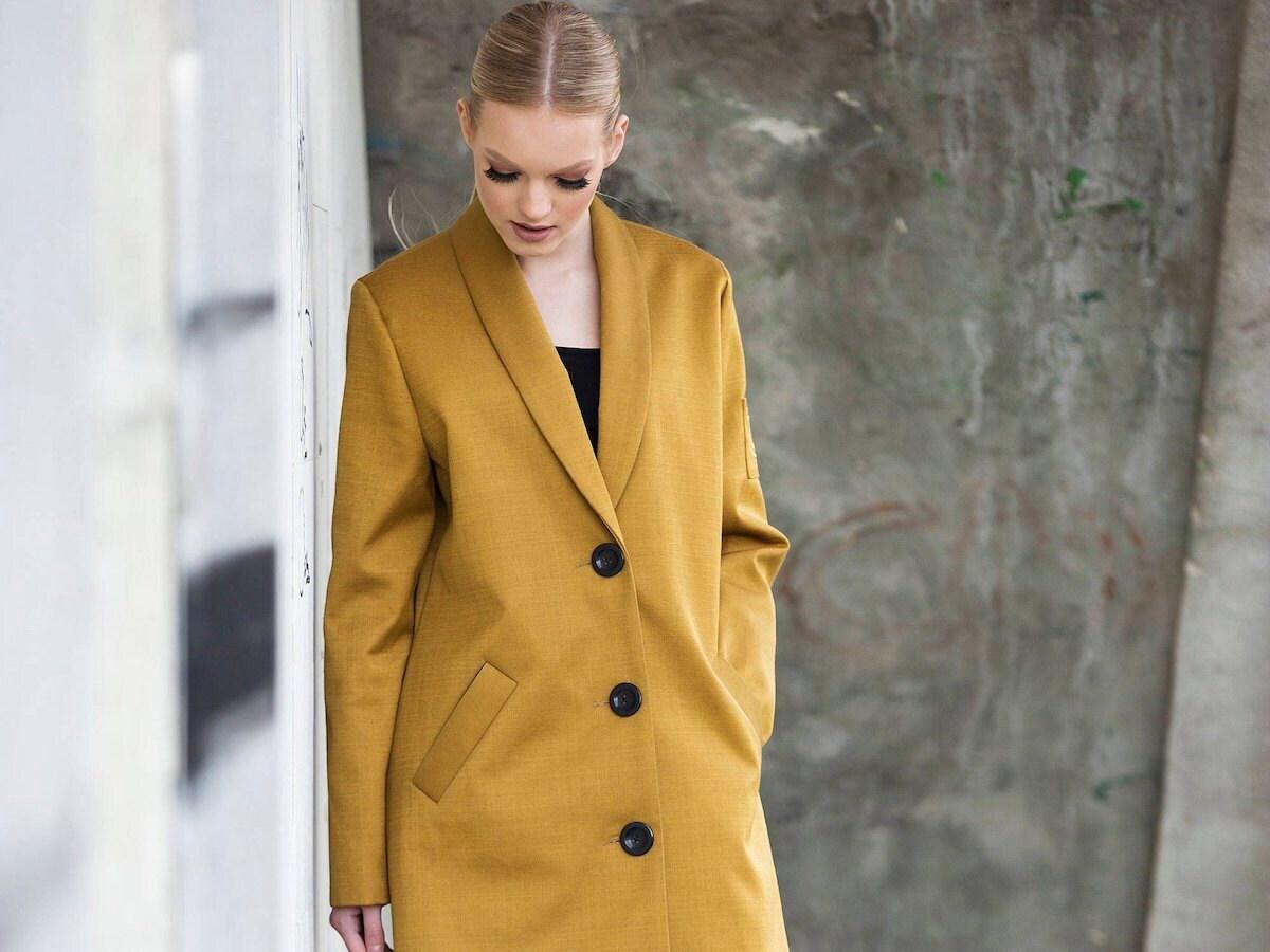 Golden saffron coat from MASTYC