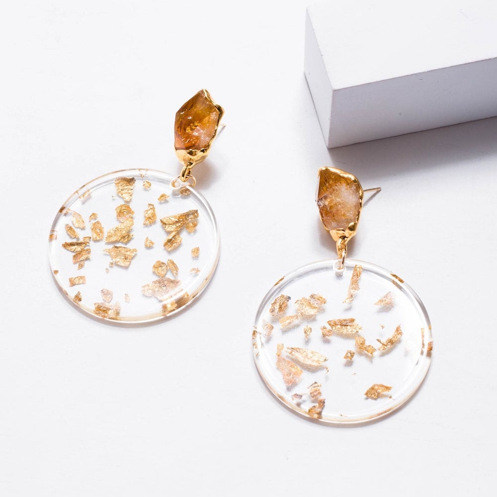 Citrine and gold leaf statement earrings from Ringcrush