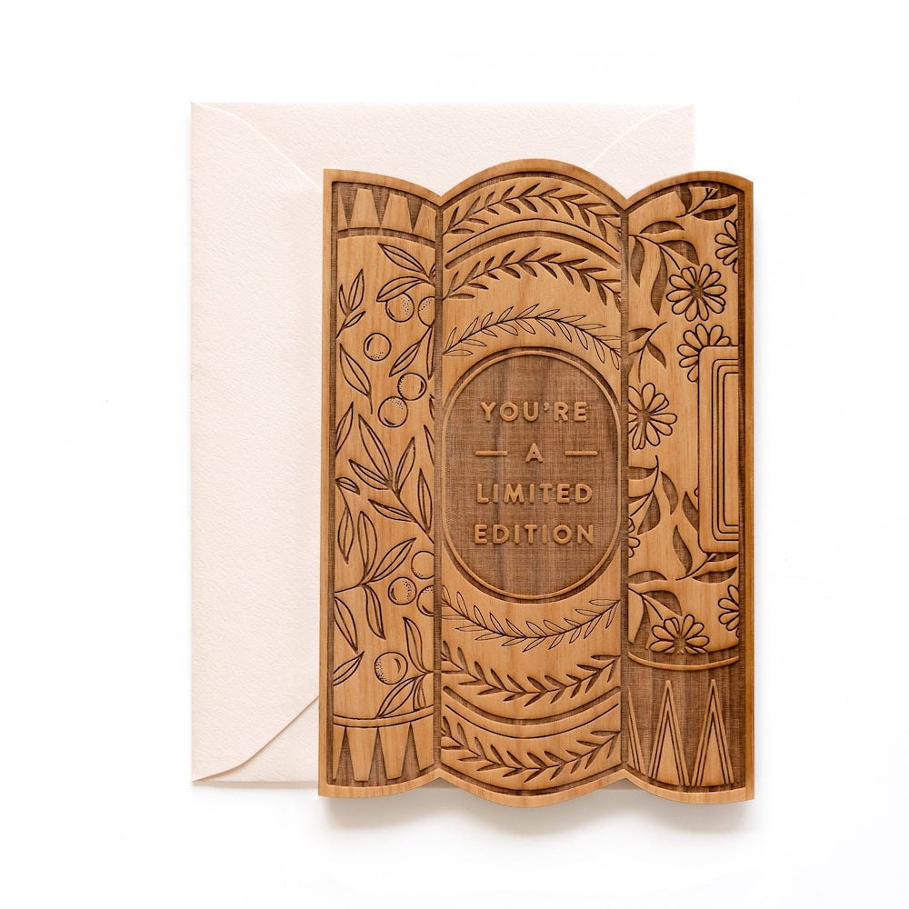 Customizable wooden book-lovers card from Hereafter
