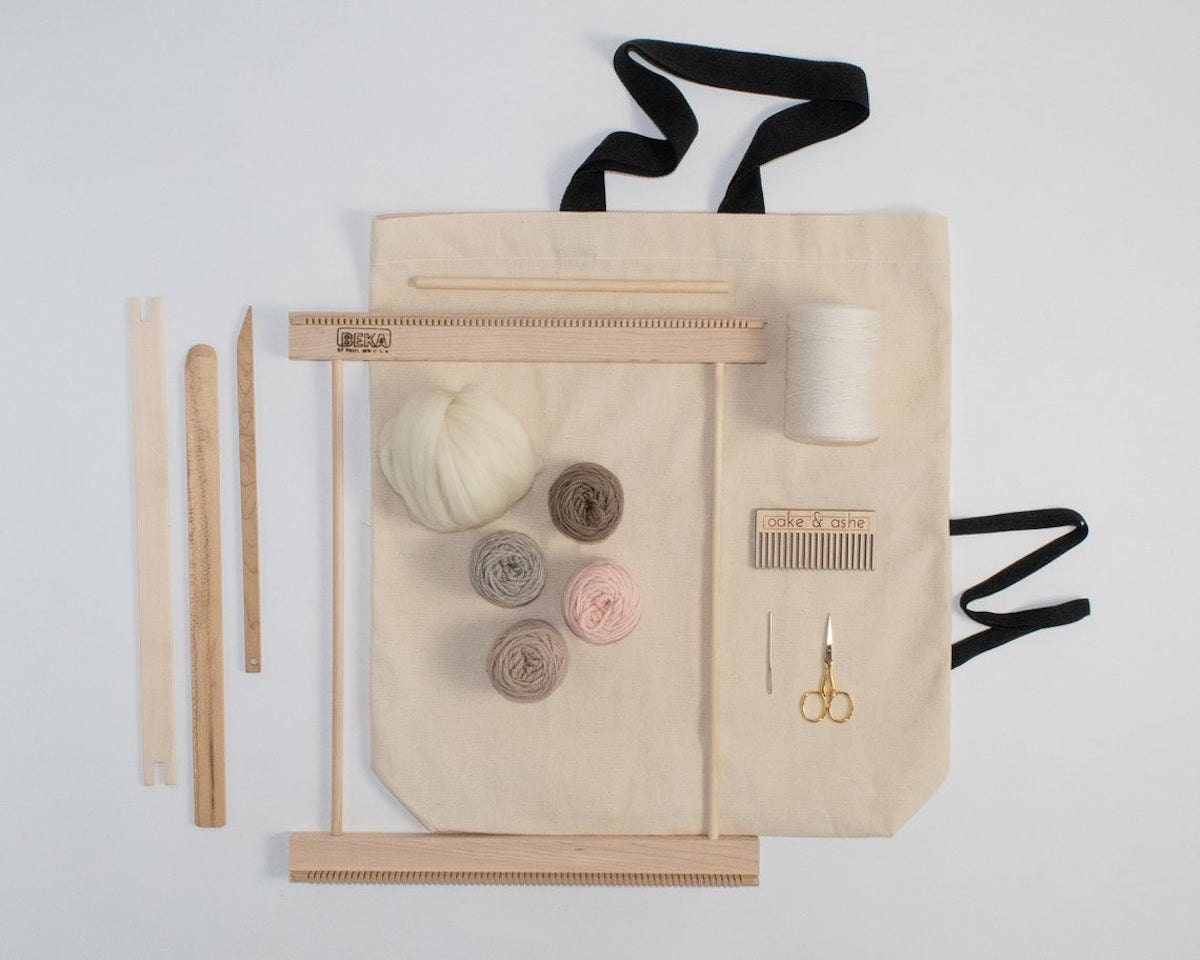 """A 14"""" blush frame loom from Oake and Ashe."""
