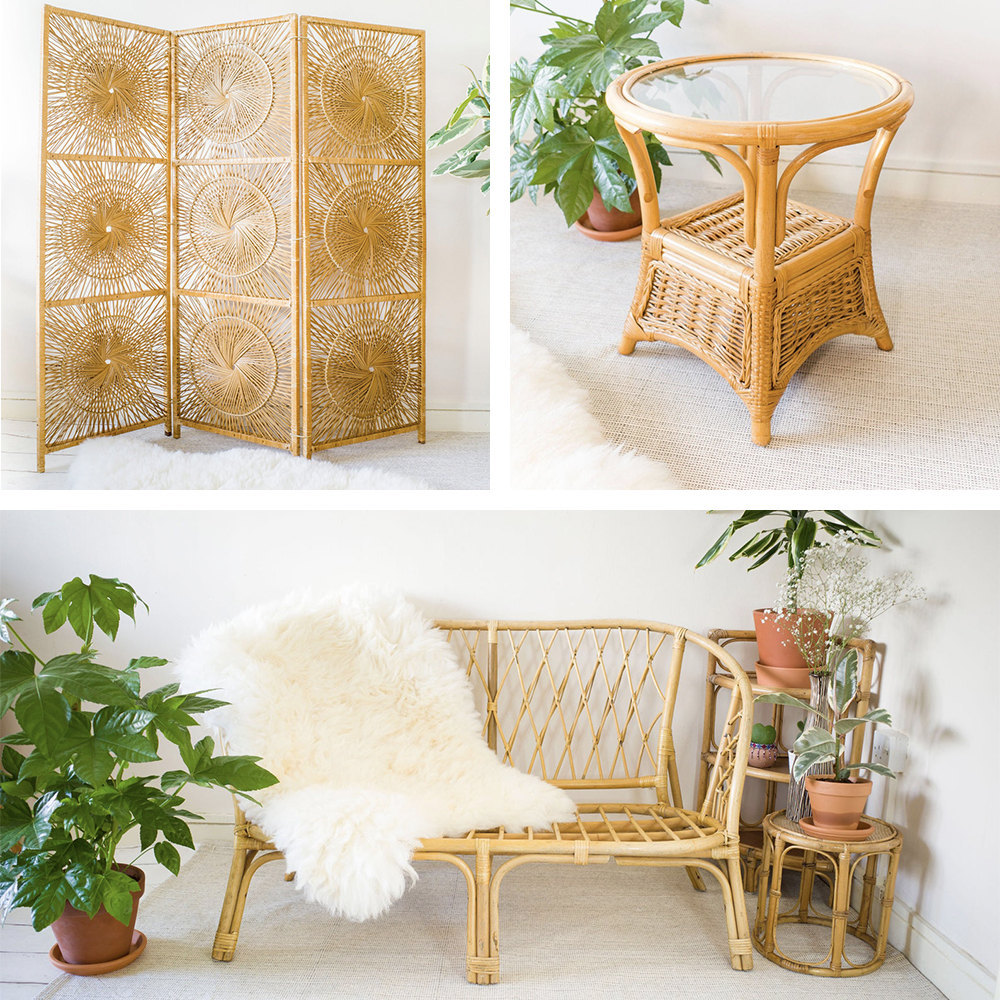 A collage of bamboo furniture from Vintage Wanders