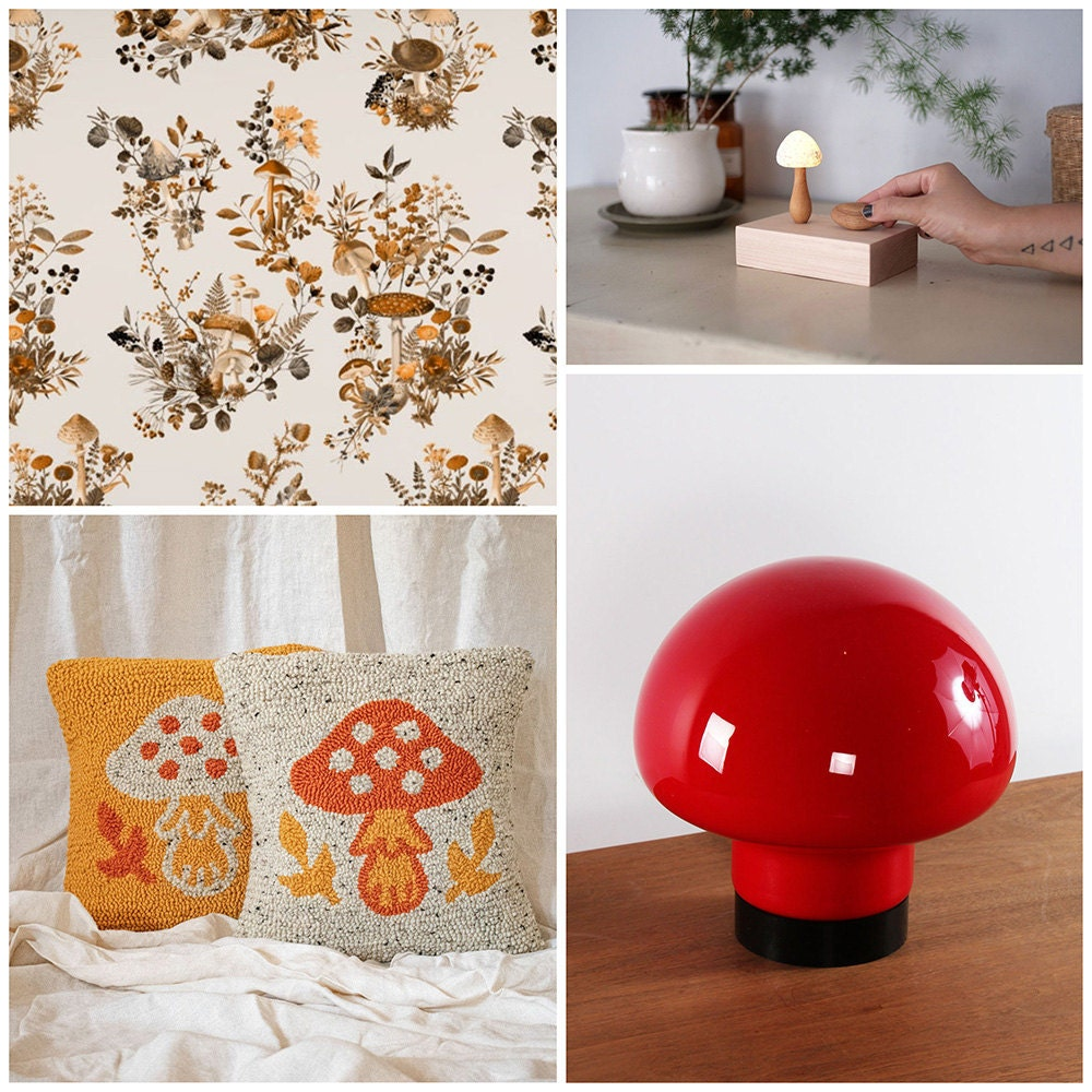 A collage of home decor items featuring mushroom motifs
