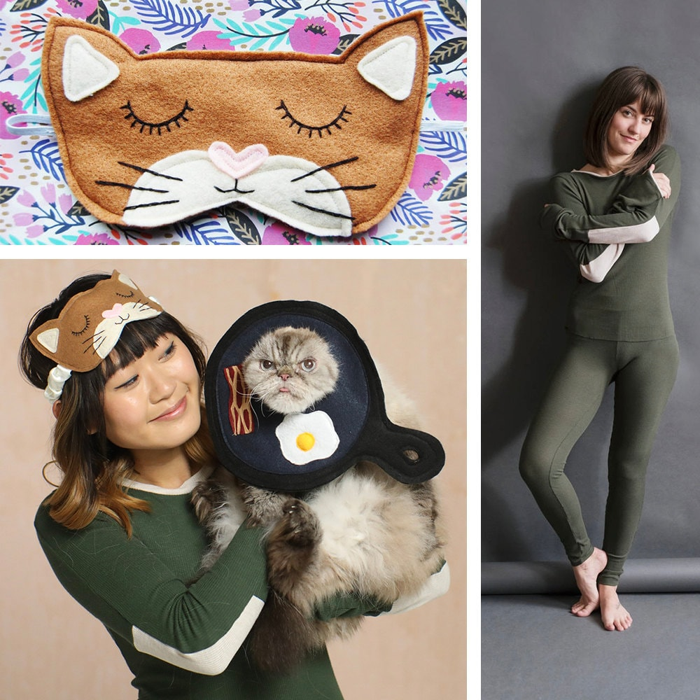 """A collage of items needed for a """"breakfast in bed"""" cat + human Halloween costume."""