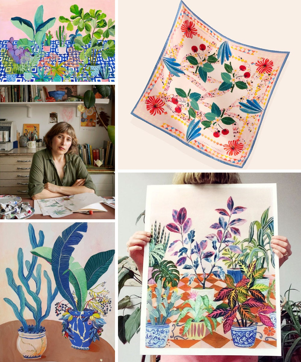 A collage of botanical art prints and silk scarves from Art and People on Etsy.