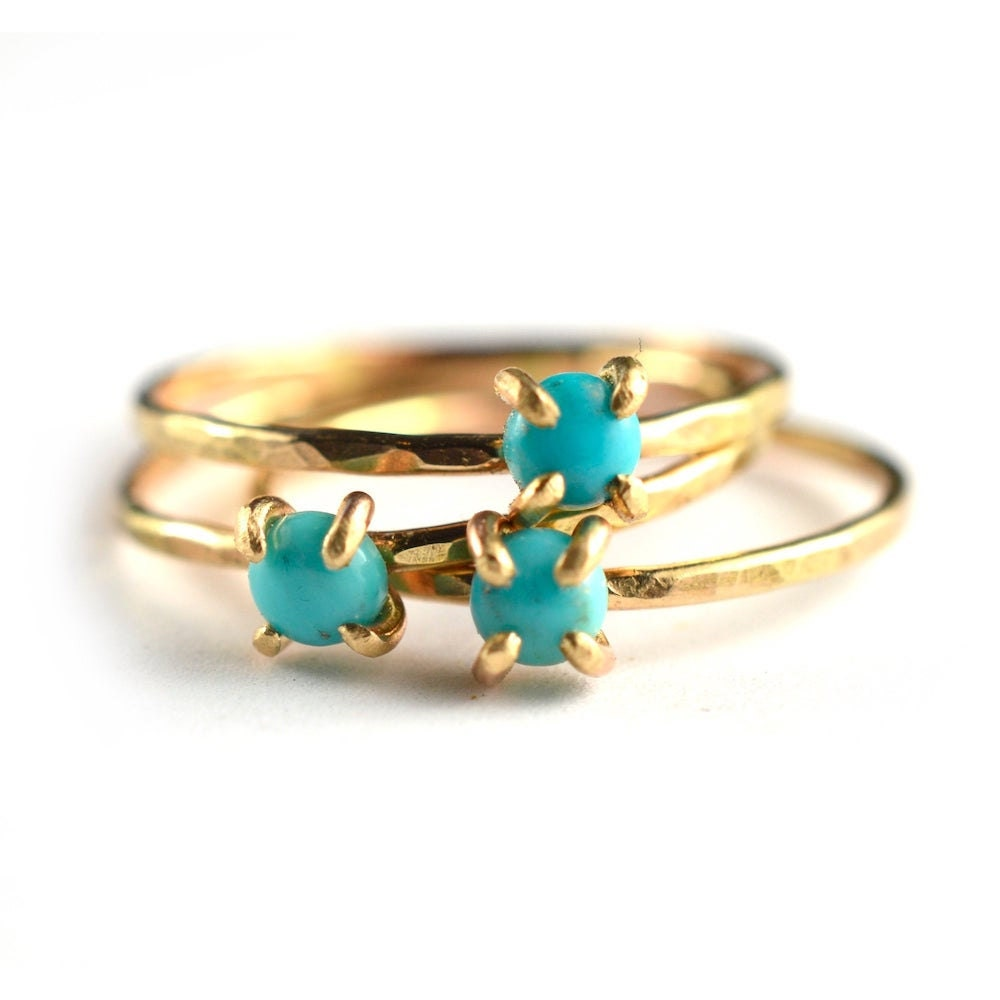 Turquoise stacking rings from Aquarian Thoughts