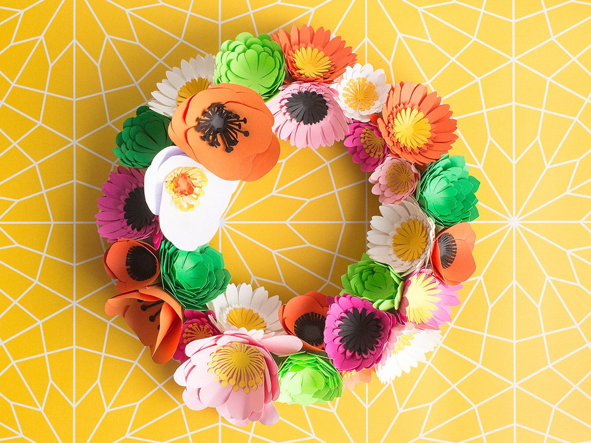 Colorful paper flower wreath