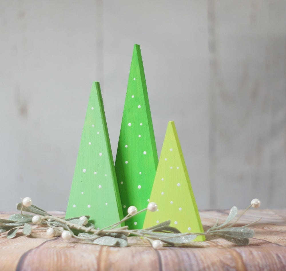 Trio of painted wooden trees from GFT Woodcraft