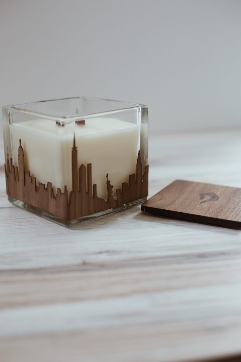 Custom city skyline candle from Swoon Living