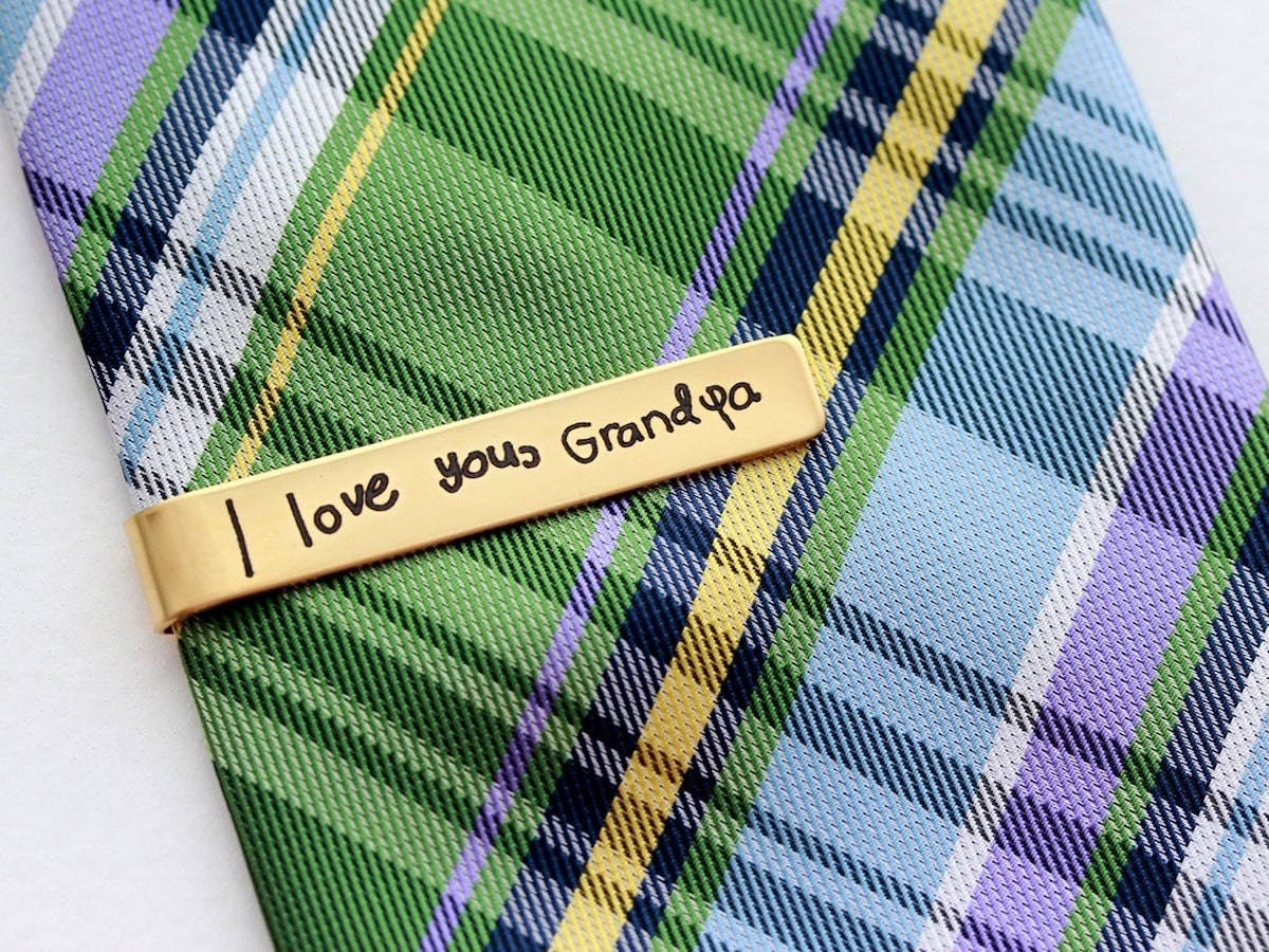 Engraved handwriting tie clip from Tom Design Shop, and other personalized Father's Day gifts from Etsy