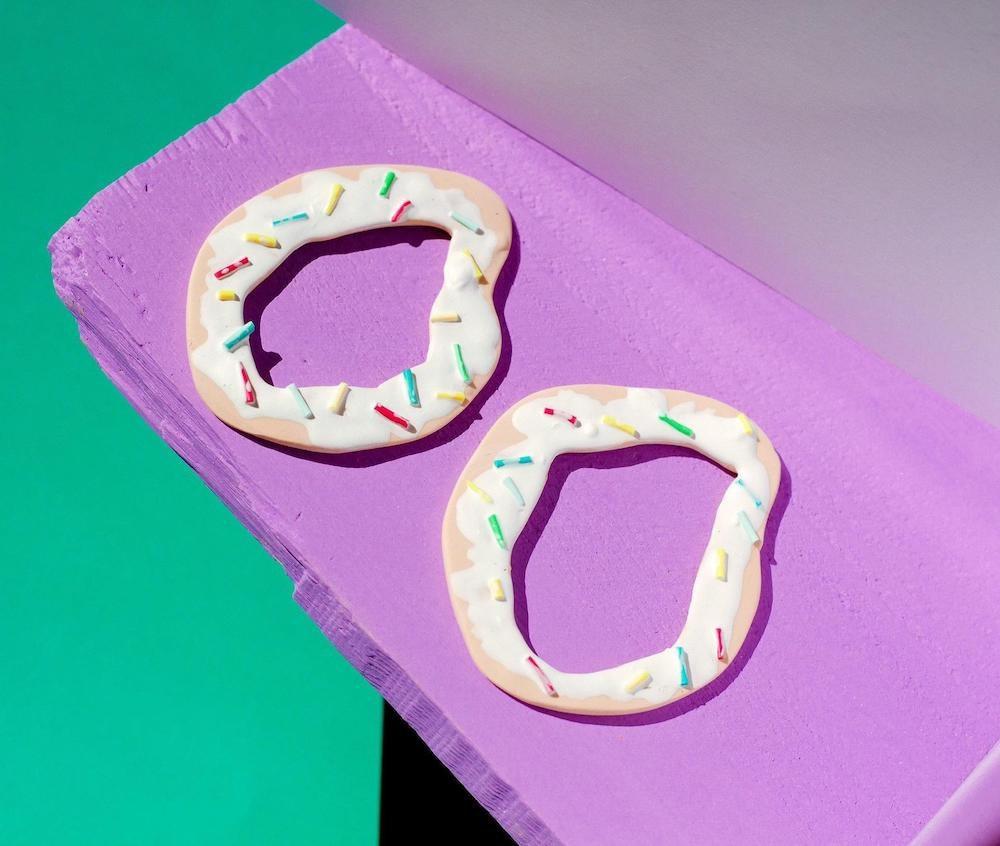 Surrealist donut earrings from Whack World