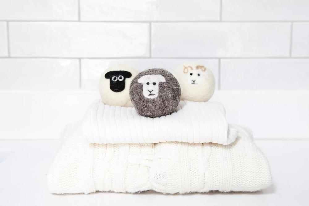 Felted wool dryer ball set from Little Beau Sheep