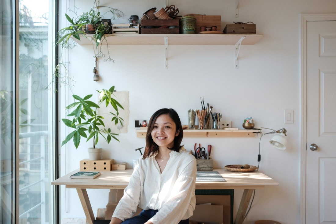 Portrait of leather accessories designer and Small Queue shop owner Quynh Pham