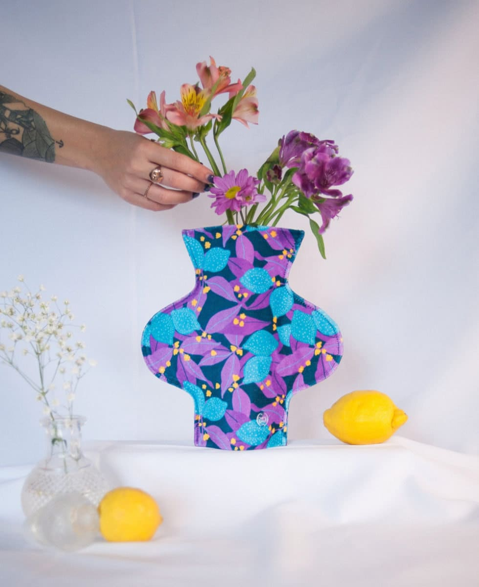 A brightly patterned fabric vase from Cherry and Mint