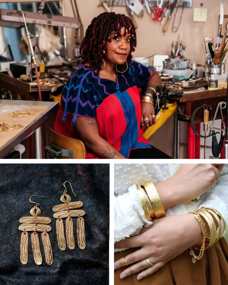 Portrait of metalsmith Alicia Goodwin collaged alongside some of her statement jewelry.